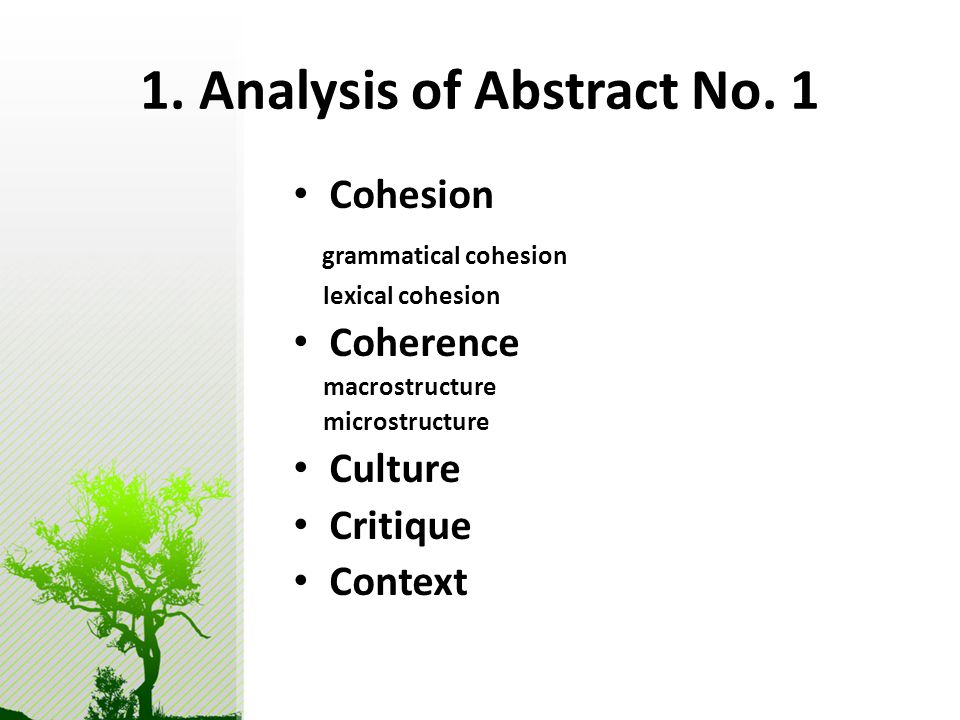 1. Analysis of Abstract No.