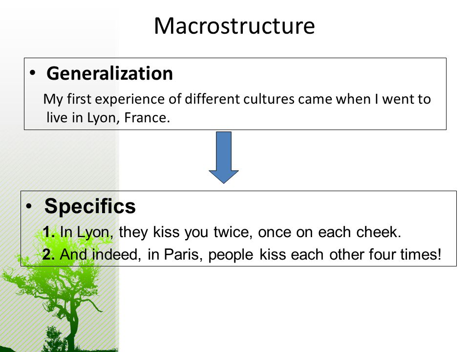 Macrostructure Generalization My first experience of different cultures came when I went to live in Lyon, France.