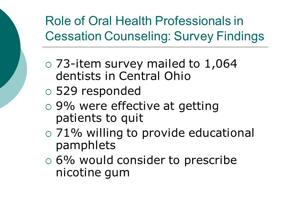 Role of Oral Health Professionals in Cessation Counseling: Survey Findings  73-item survey mailed to 1,064 dentists in Central Ohio  529 responded  9% were effective at getting patients to quit  71% willing to provide educational pamphlets  6% would consider to prescribe nicotine gum