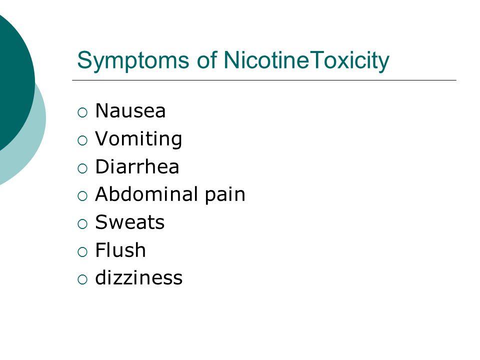 Symptoms of NicotineToxicity  Nausea  Vomiting  Diarrhea  Abdominal pain  Sweats  Flush  dizziness