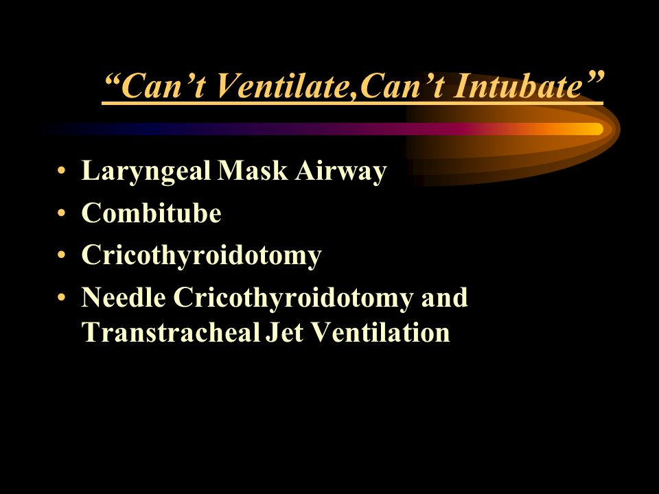 """""""Can't Ventilate,Can't Intubate """" Laryngeal Mask Airway Combitube Cricothyroidotomy Needle Cricothyroidotomy and Transtracheal Jet Ventilation"""