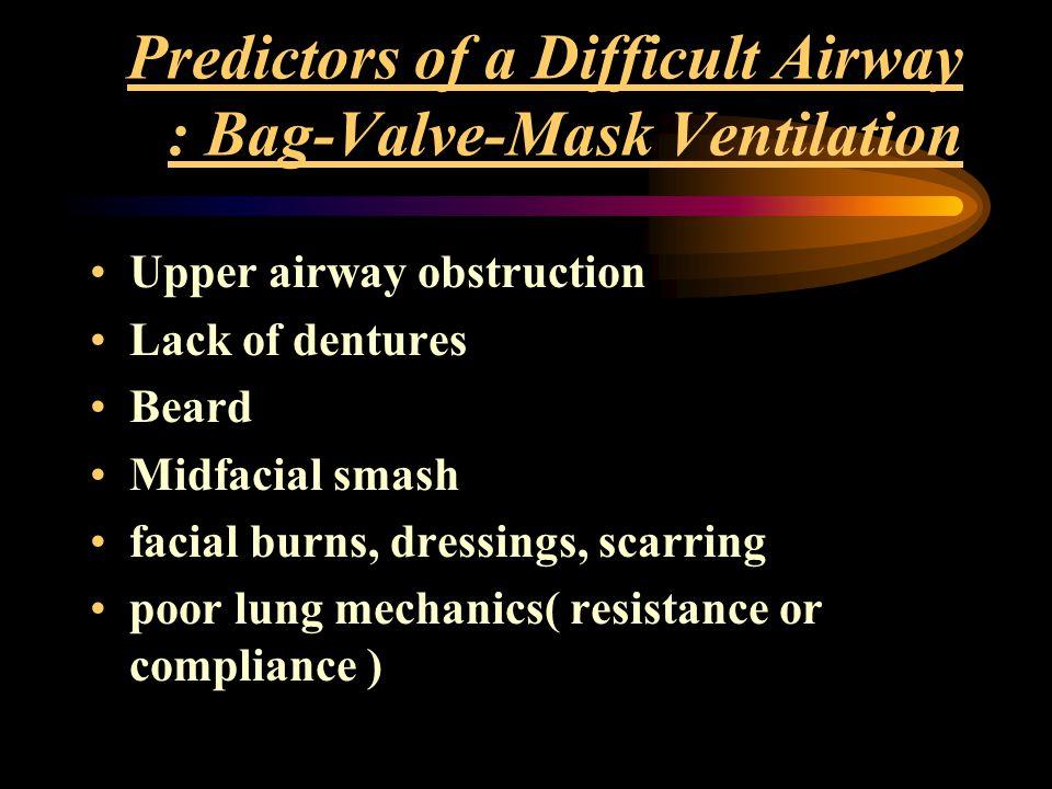 Predictors of a Difficult Airway : Bag-Valve-Mask Ventilation Upper airway obstruction Lack of dentures Beard Midfacial smash facial burns, dressings,