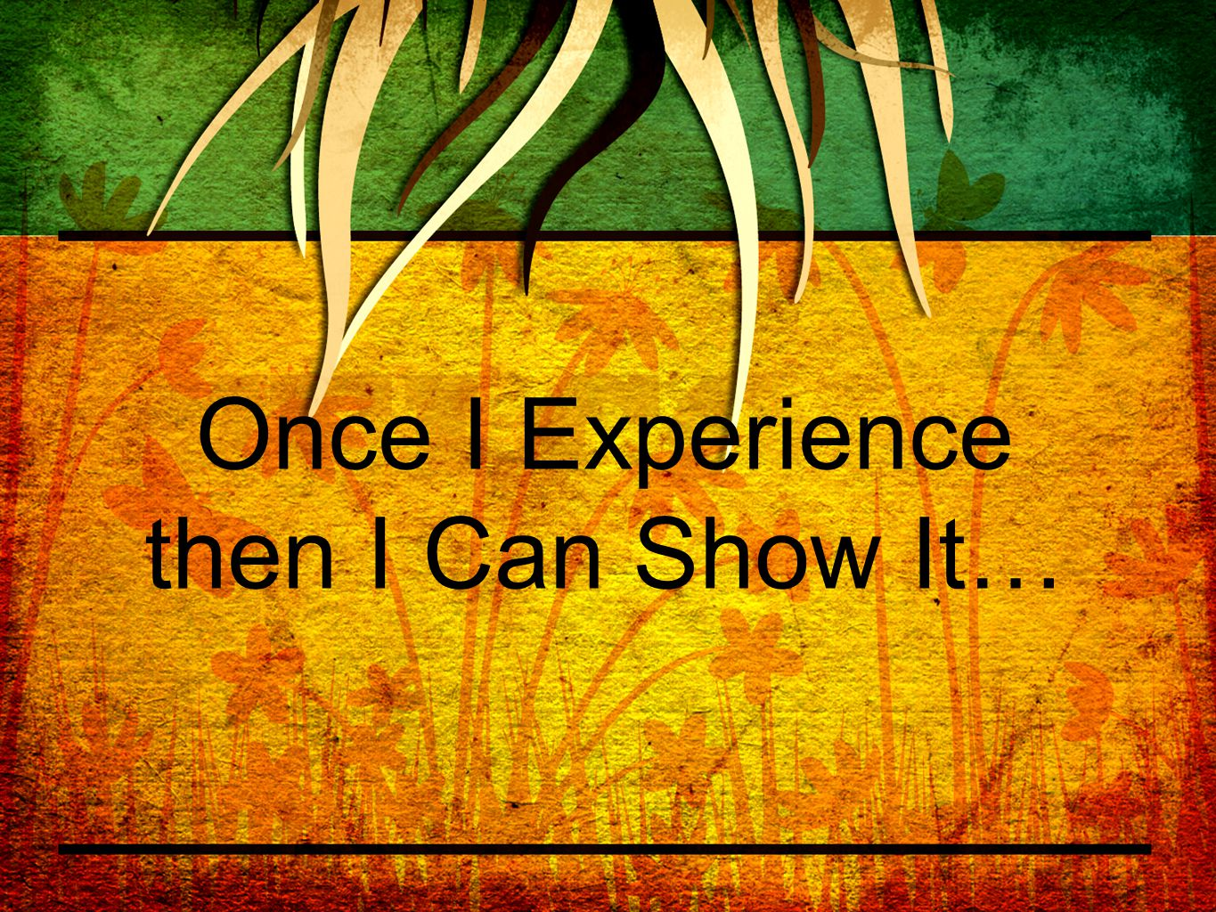 Once I Experience then I Can Show It…