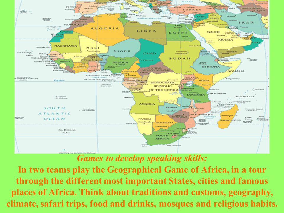 Games to develop speaking skills: In two teams play the Geographical Game of Africa, in a tour through the different most important States, cities and famous places of Africa.