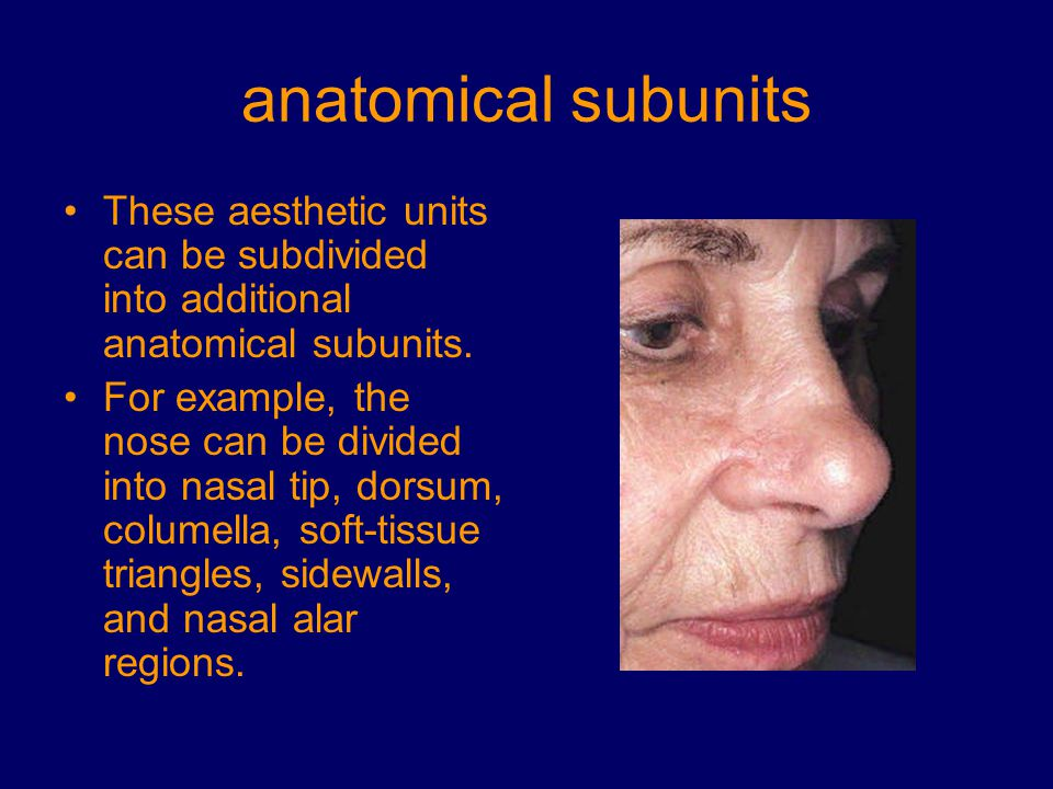 anatomical subunits Optimally, perform an incision or an excision within or parallel to the relaxed skin- tension lines (RSTLs) of the face