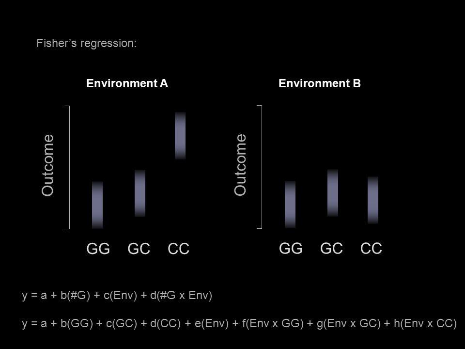 Fisher's regression: GG GC CC Outcome y = a + b(#G) + c(Env) + d(#G x Env) y = a + b(GG) + c(GC) + d(CC) + e(Env) + f(Env x GG) + g(Env x GC) + h(Env