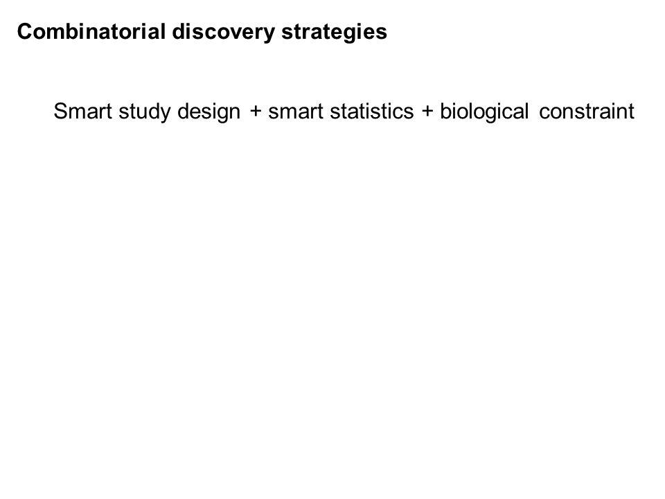 Combinatorial discovery strategies Smart study design + smart statistics + biological constraint