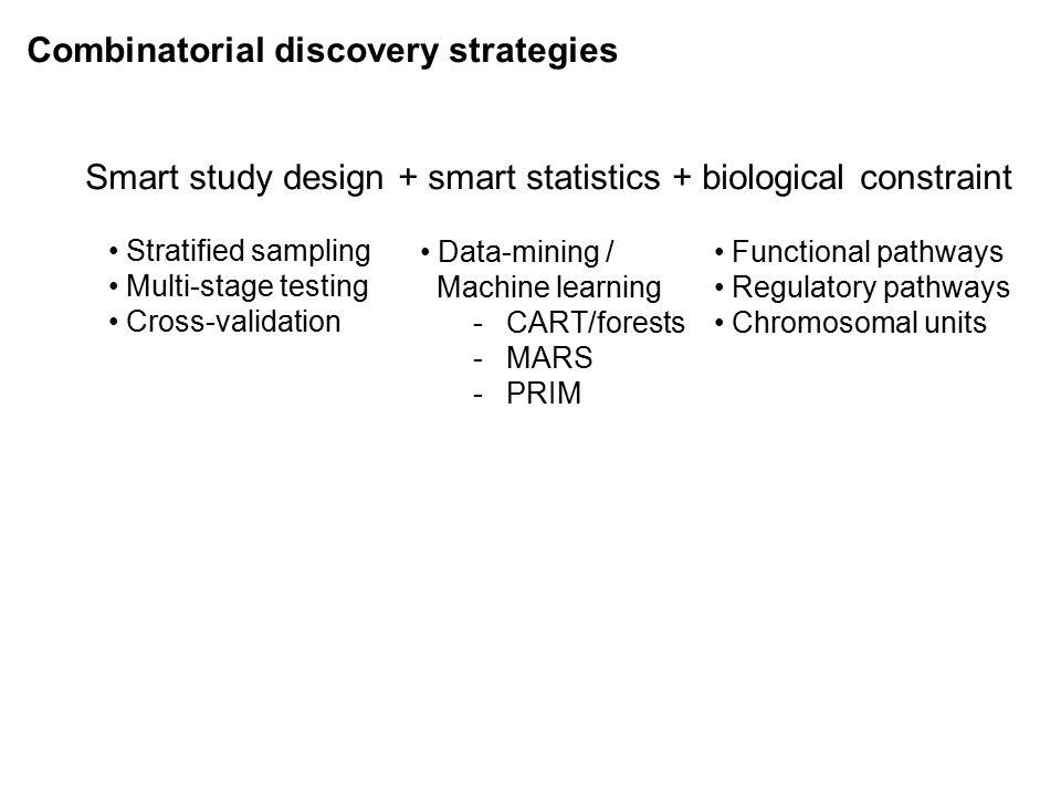 Combinatorial discovery strategies Smart study design + smart statistics + biological constraint Stratified sampling Multi-stage testing Cross-validation Data-mining / Machine learning -CART/forests -MARS -PRIM Functional pathways Regulatory pathways Chromosomal units