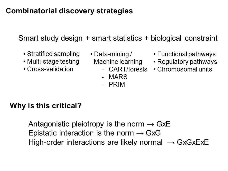 Combinatorial discovery strategies Smart study design + smart statistics + biological constraint Stratified sampling Multi-stage testing Cross-validat
