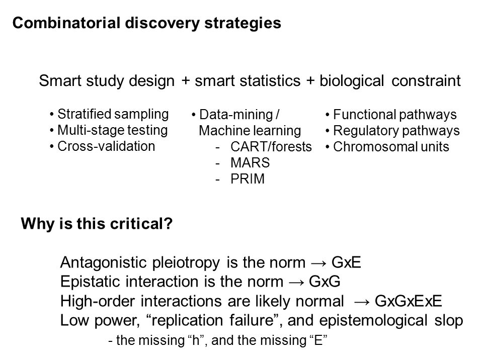 Combinatorial discovery strategies Smart study design + smart statistics + biological constraint Stratified sampling Multi-stage testing Cross-validation Data-mining / Machine learning -CART/forests -MARS -PRIM Functional pathways Regulatory pathways Chromosomal units Why is this critical.