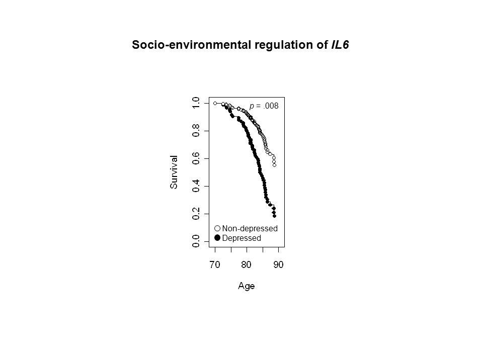 Non-depressed Depressed p =.008 Socio-environmental regulation of IL6