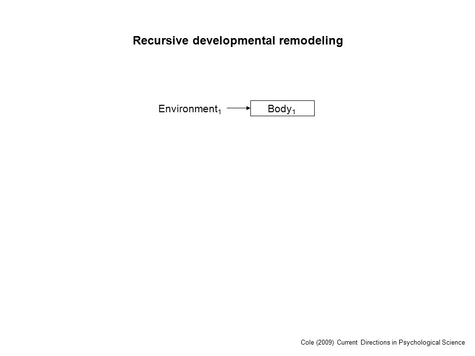 Environment 1 Body 1 Recursive developmental remodeling Cole (2009) Current Directions in Psychological Science