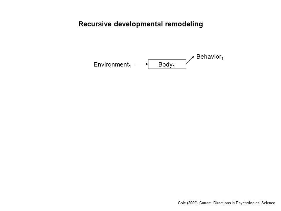 Environment 1 Body 1 Behavior 1 Recursive developmental remodeling Cole (2009) Current Directions in Psychological Science