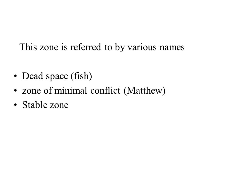 This zone is referred to by various names Dead space (fish) zone of minimal conflict (Matthew) Stable zone
