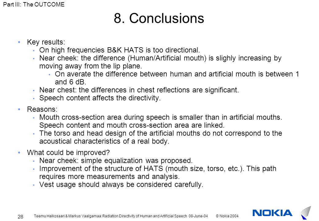 Teemu Halkosaari & Markus Vaalgamaa: Radiation Directivity of Human and Artificial Speech 08-June-04© Nokia 2004 28 8.