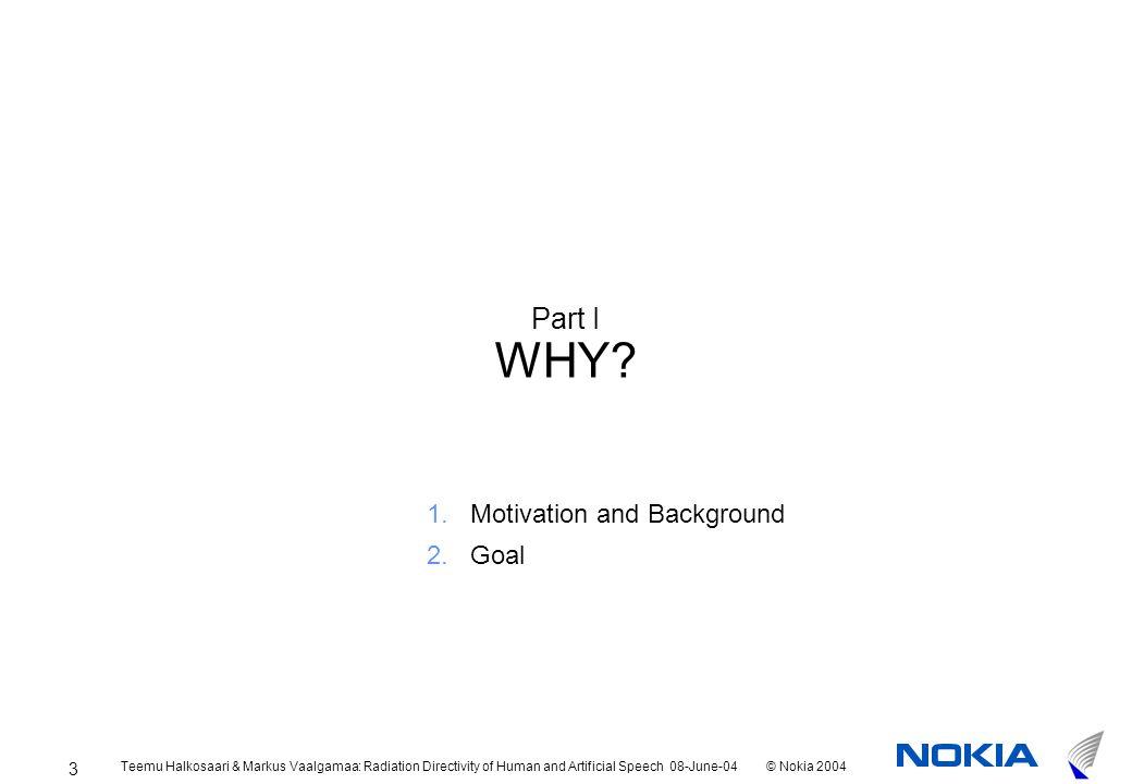 Teemu Halkosaari & Markus Vaalgamaa: Radiation Directivity of Human and Artificial Speech 08-June-04© Nokia 2004 3 Part I WHY.
