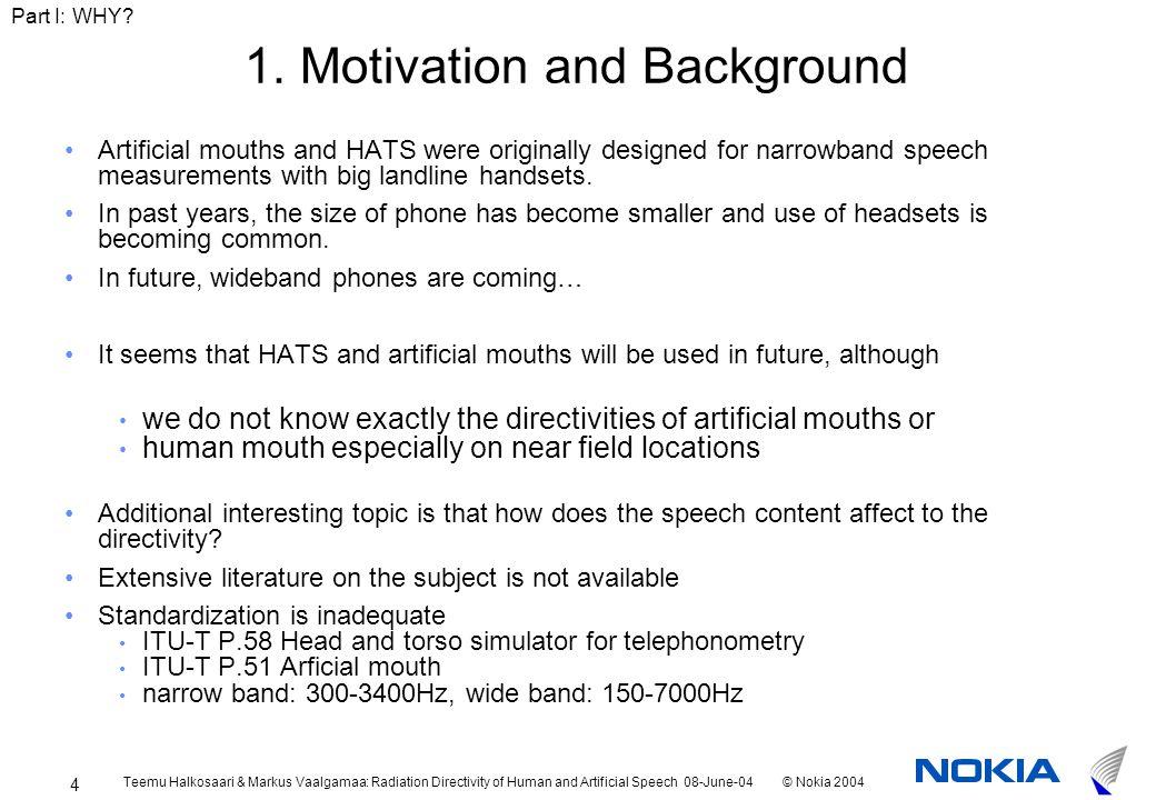Teemu Halkosaari & Markus Vaalgamaa: Radiation Directivity of Human and Artificial Speech 08-June-04© Nokia 2004 4 1.