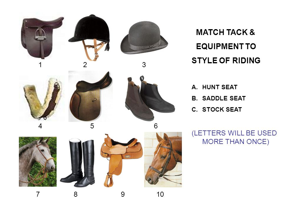 123 456 78910 MATCH TACK & EQUIPMENT TO STYLE OF RIDING A.HUNT SEAT B.SADDLE SEAT C.STOCK SEAT (LETTERS WILL BE USED MORE THAN ONCE)