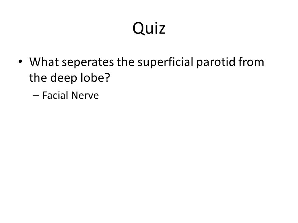 Quiz What seperates the superficial parotid from the deep lobe? – Facial Nerve