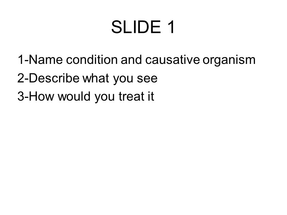 1-Name condition and causative organism 2-Describe what you see 3-How would you treat it