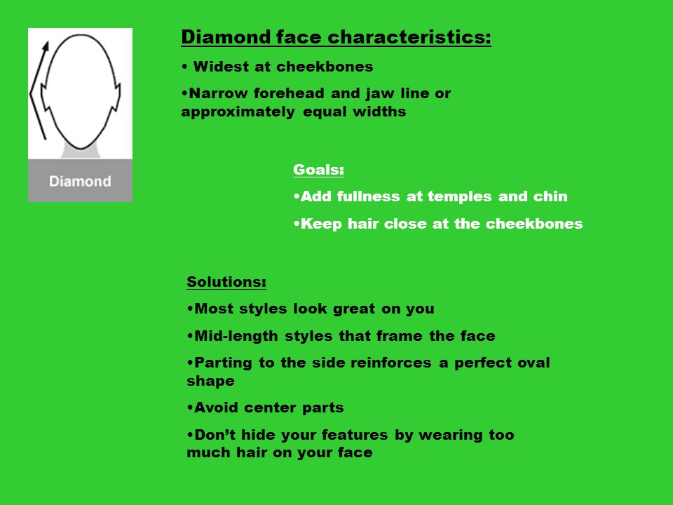 Diamond face characteristics: Widest at cheekbones Narrow forehead and jaw line or approximately equal widths Goals: Add fullness at temples and chin
