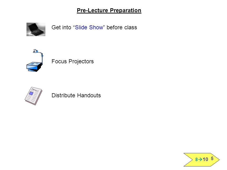 "5 Pre-Lecture Preparation Get into ""Slide Show"" before class Focus Projectors Distribute Handouts"