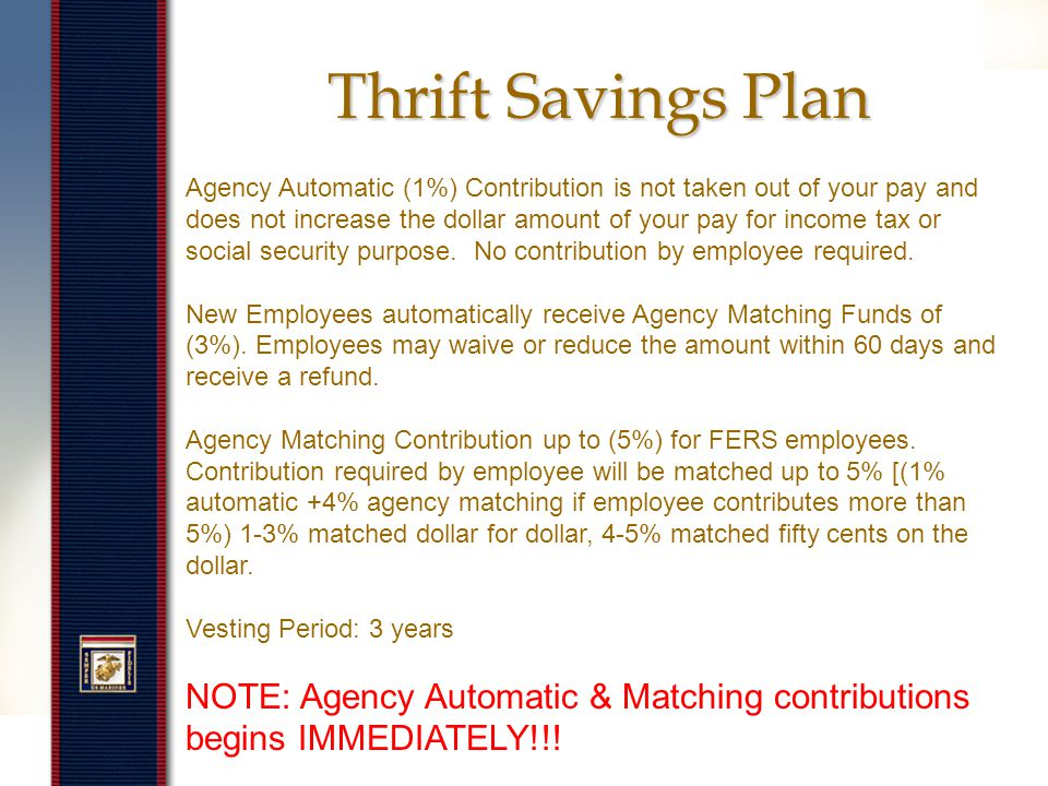 Thrift Savings Plan www.tsp.gov The Thrift Savings Plan (TSP) is a retirement savings and investment plan for Federal employees.