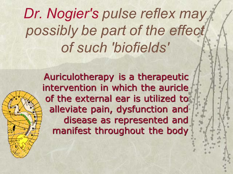 Dr. Nogier's pulse reflex may possibly be part of the effect of such 'biofields' Auriculotherapy is a therapeutic intervention in which the auricle of