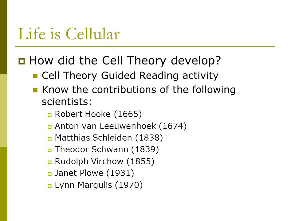 Life is Cellular  How did the Cell Theory develop? Cell Theory Guided Reading activity Know the contributions of the following scientists:  Robert H