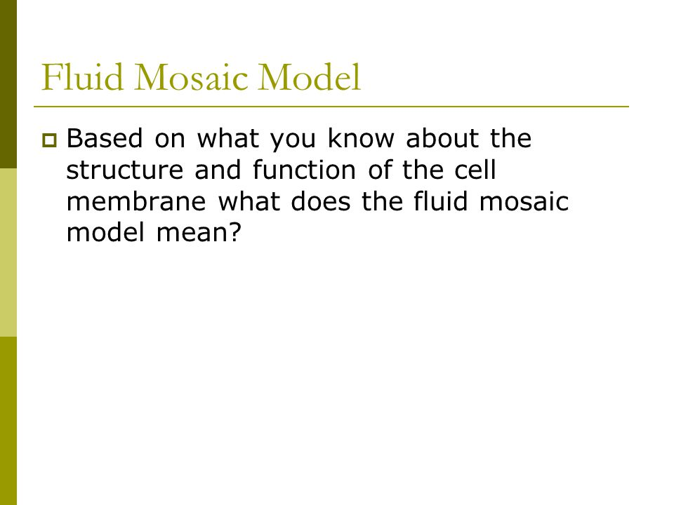 Fluid Mosaic Model  Based on what you know about the structure and function of the cell membrane what does the fluid mosaic model mean?