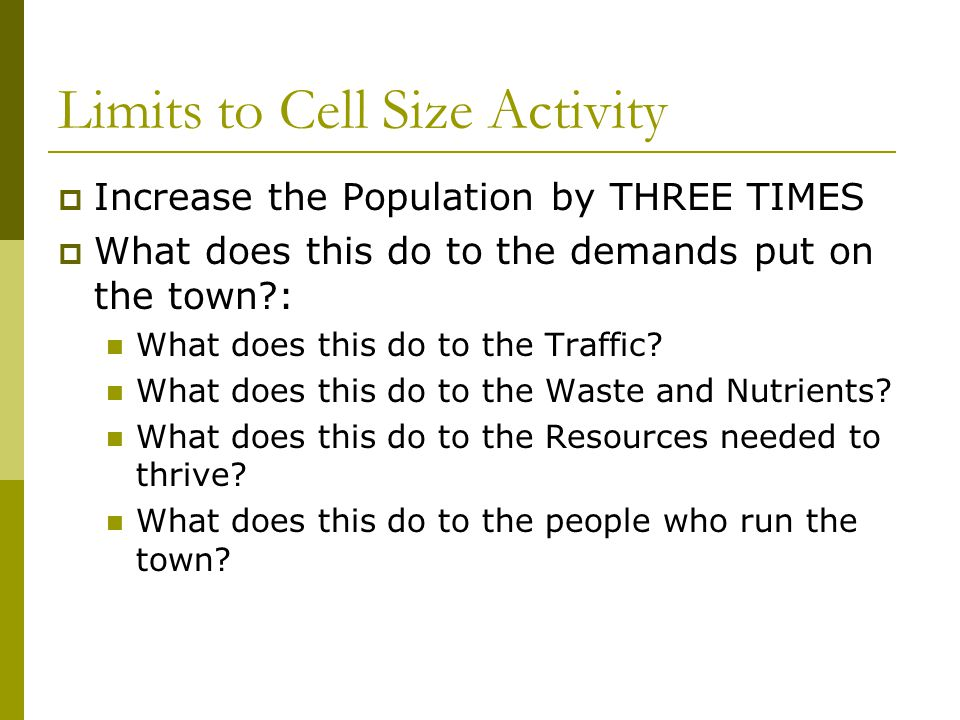 Limits to Cell Size Activity  Increase the Population by THREE TIMES  What does this do to the demands put on the town?: What does this do to the Tr