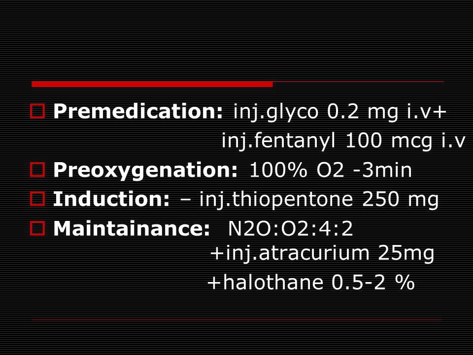  Premedication: inj.glyco 0.2 mg i.v+ inj.fentanyl 100 mcg i.v  Preoxygenation: 100% O2 -3min  Induction: – inj.thiopentone 250 mg  Maintainance: N2O:O2:4:2 +inj.atracurium 25mg +halothane 0.5-2 %