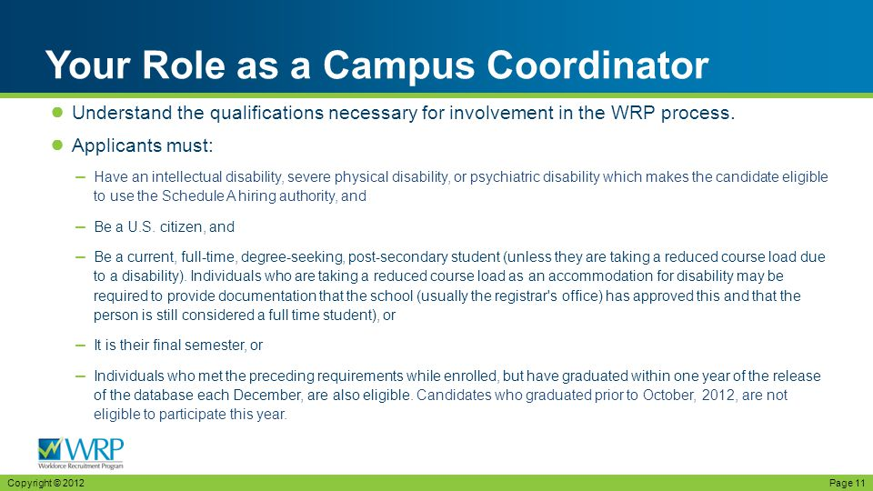 ● Understand the qualifications necessary for involvement in the WRP process.