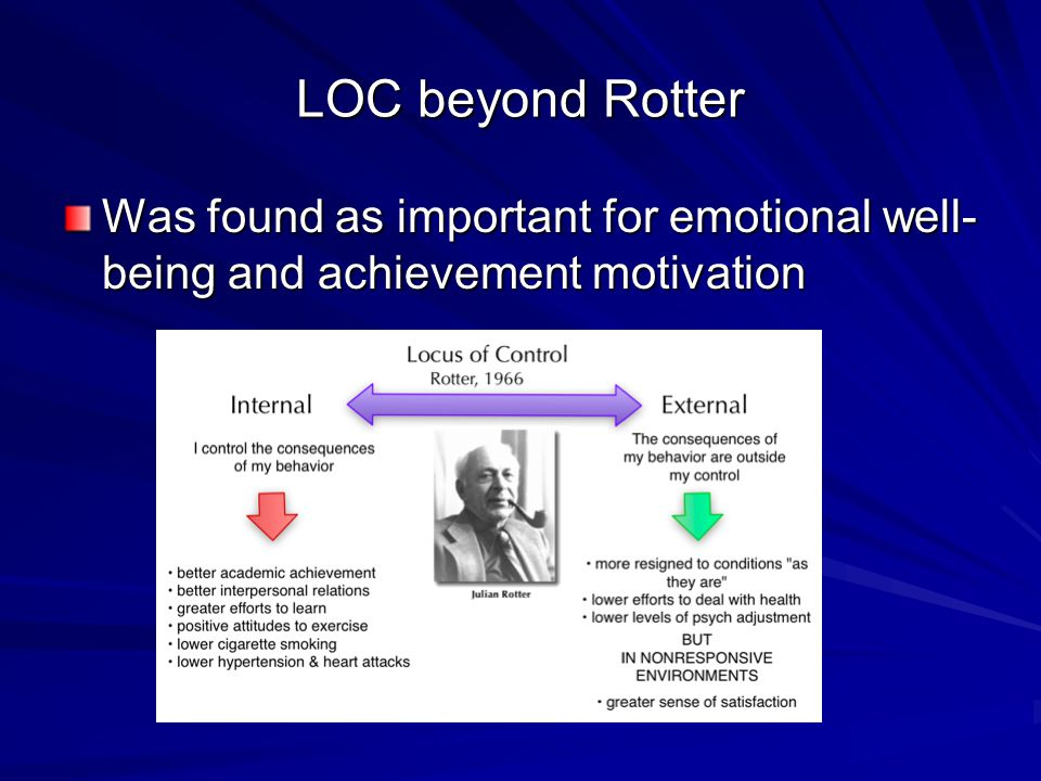 LOC beyond Rotter Was found as important for emotional well- being and achievement motivation