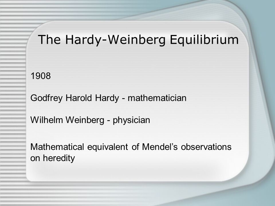The Hardy-Weinberg Equilibrium Mathematical equivalent of Mendel's observations on heredity 1908 Godfrey Harold Hardy - mathematician Wilhelm Weinberg - physician