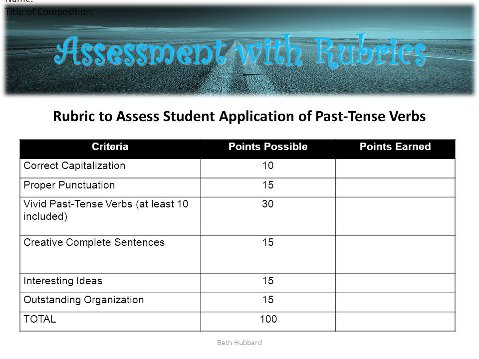 Beth Hubbard Assessment with Rubrics CriteriaPoints PossiblePoints Earned Correct Capitalization10 Proper Punctuation15 Vivid Past-Tense Verbs (at least 10 included) 30 Creative Complete Sentences15 Interesting Ideas15 Outstanding Organization15 TOTAL100 Name: Title of Composition: Rubric to Assess Student Application of Past-Tense Verbs