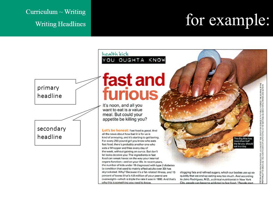 Curriculum ~ Writing Writing Headlines for example: primary headline secondary headline