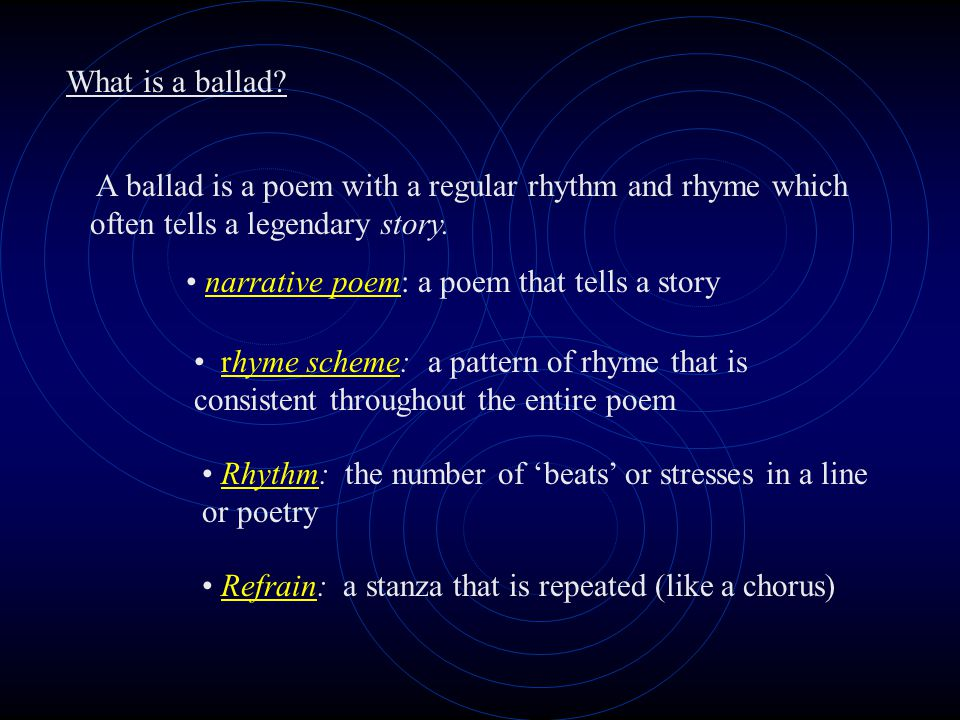 Narrative Poems Aim of Lesson: To understand the ballad as a form of storytelling and poetry.