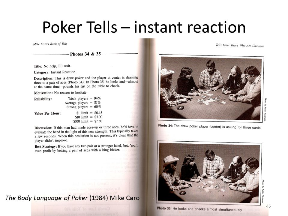 Poker Tells – instant reaction The Body Language of Poker (1984) Mike Caro 45