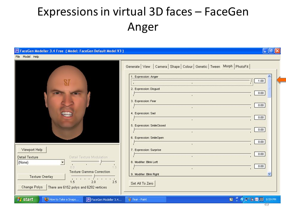 Expressions in virtual 3D faces – FaceGen Anger 49