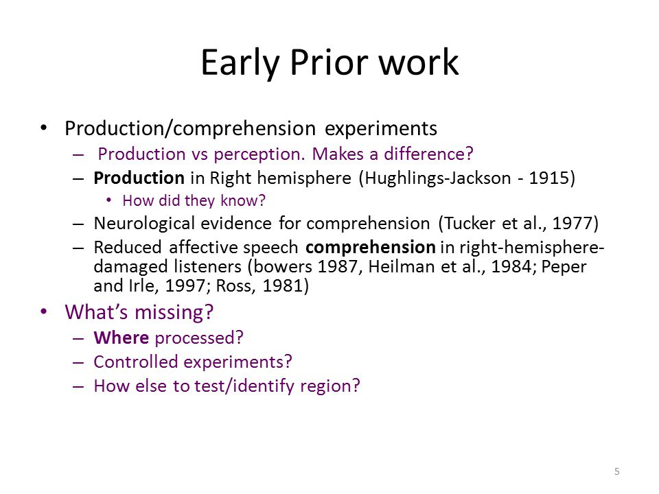 Early Prior work Production/comprehension experiments – Production vs perception.