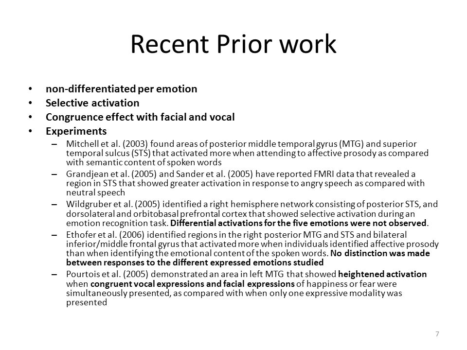 Recent Prior work non-differentiated per emotion Selective activation Congruence effect with facial and vocal Experiments – Mitchell et al.