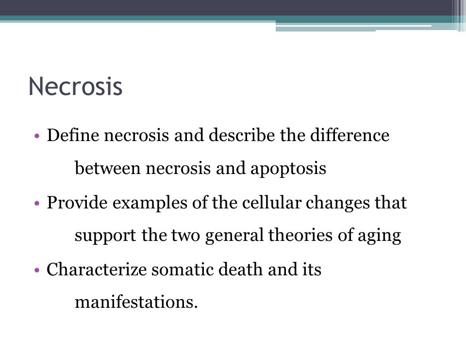 Necrosis Define necrosis and describe the difference between necrosis and apoptosis Provide examples of the cellular changes that support the two gene