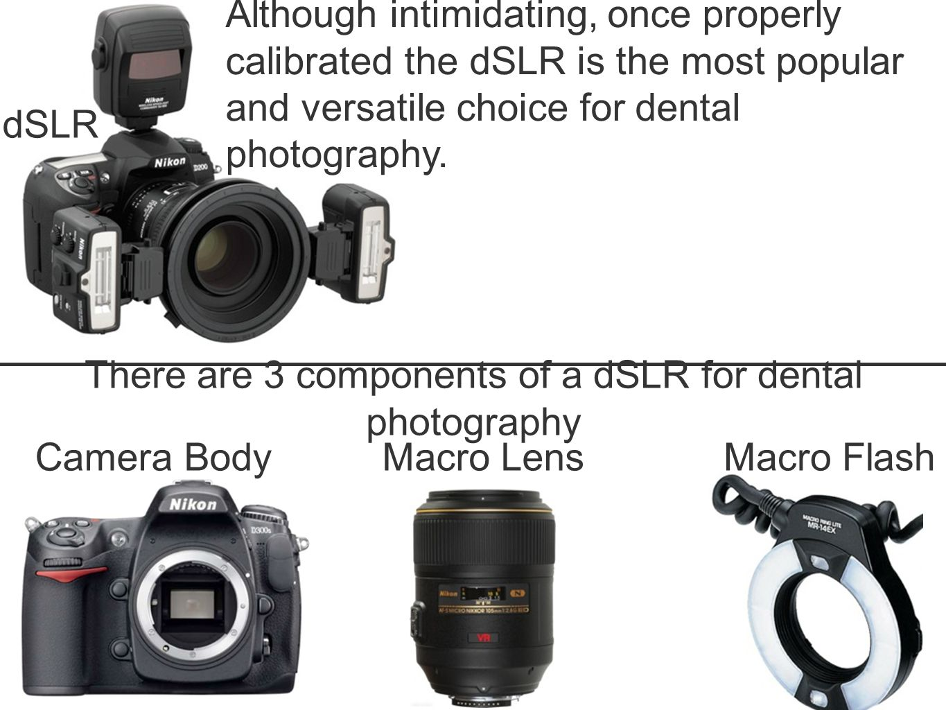 Although intimidating, once properly calibrated the dSLR is the most popular and versatile choice for dental photography.