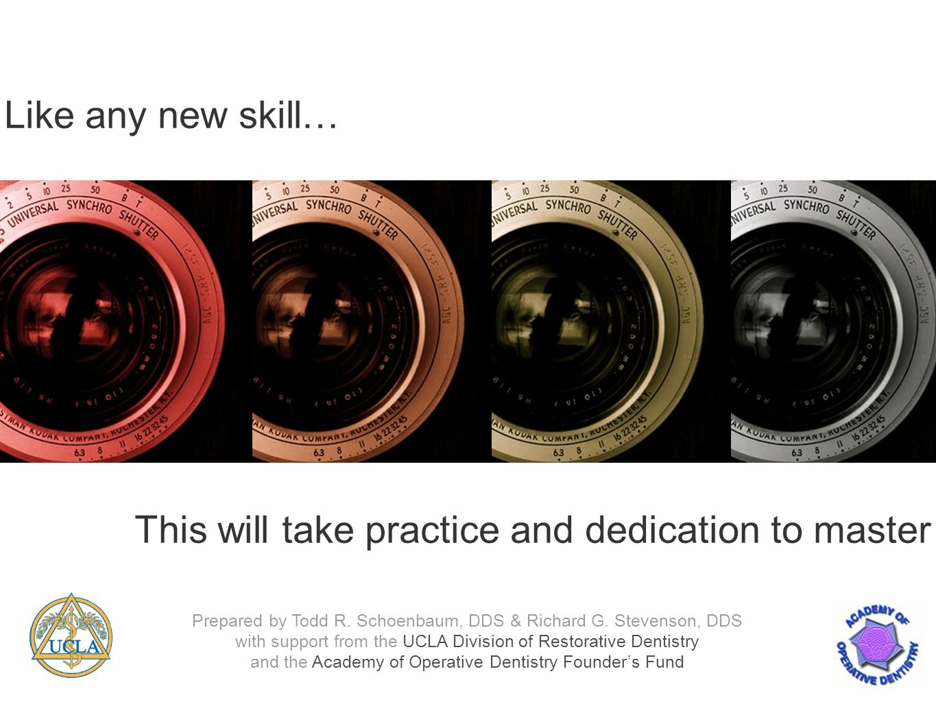 Like any new skill… This will take practice and dedication to master Prepared by Todd R.