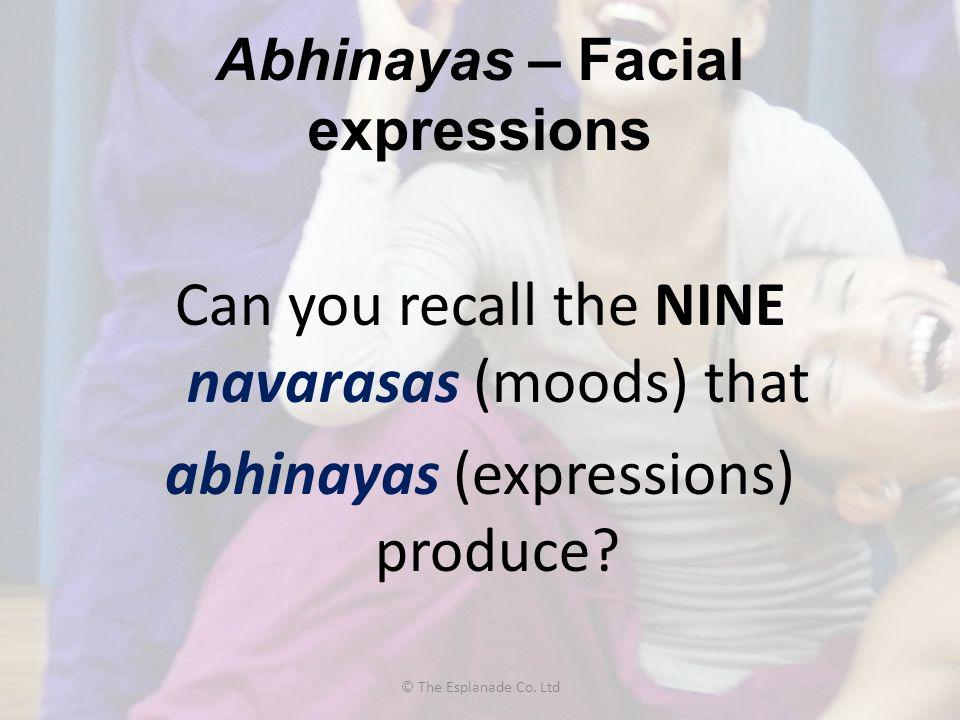 Abhinayas – Facial expressions Can you recall the NINE navarasas (moods) that abhinayas (expressions) produce? © The Esplanade Co. Ltd