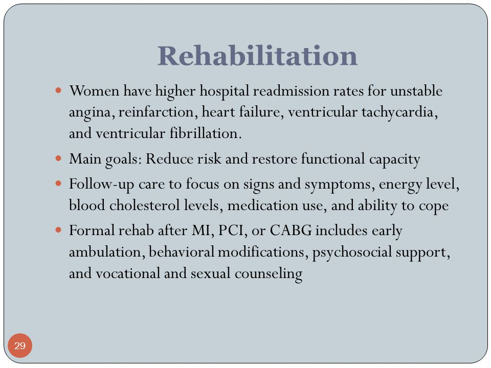 29 Rehabilitation Women have higher hospital readmission rates for unstable angina, reinfarction, heart failure, ventricular tachycardia, and ventricu