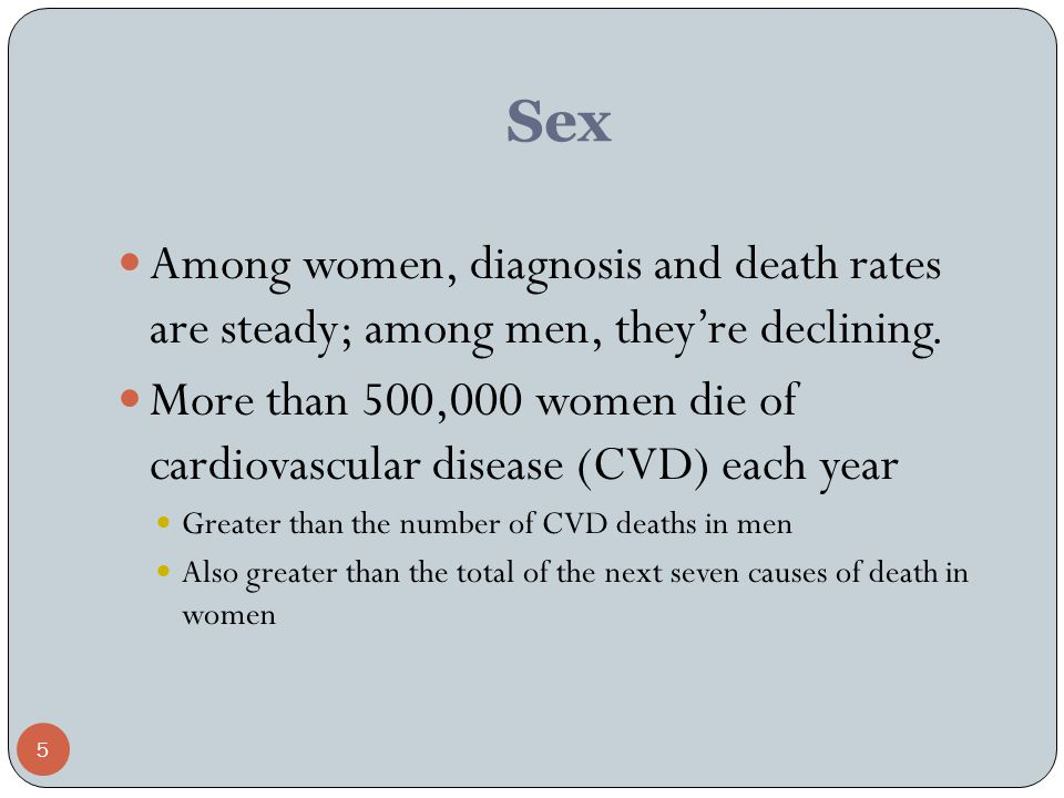 5 Sex Among women, diagnosis and death rates are steady; among men, they're declining. More than 500,000 women die of cardiovascular disease (CVD) eac