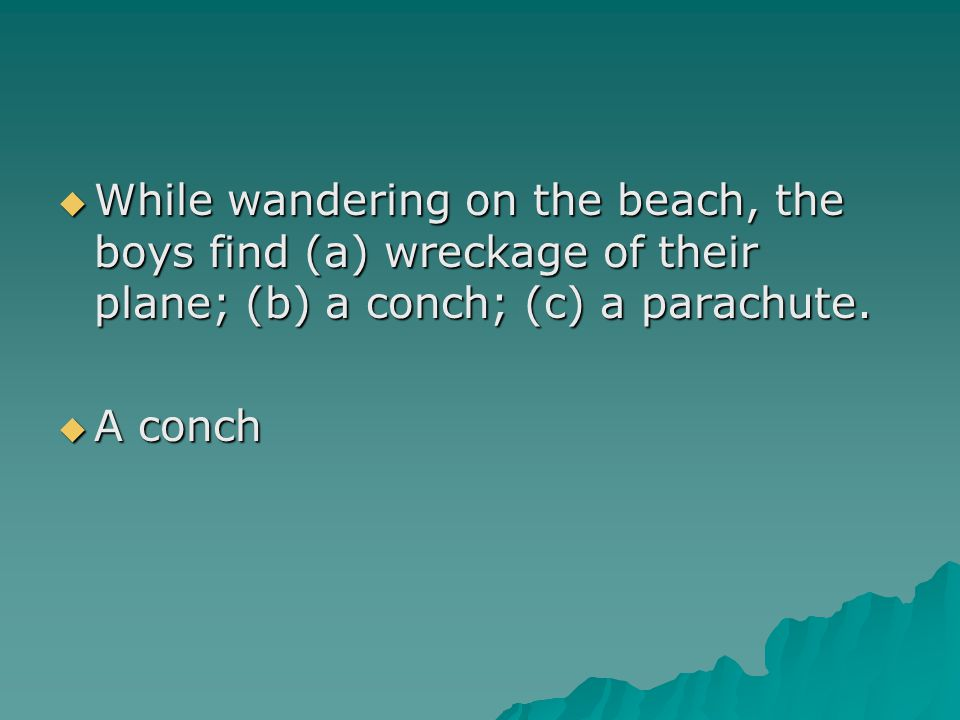  While wandering on the beach, the boys find (a) wreckage of their plane; (b) a conch; (c) a parachute.  A conch