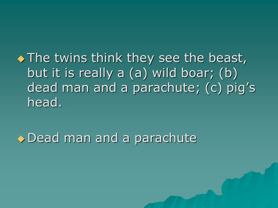  The twins think they see the beast, but it is really a (a) wild boar; (b) dead man and a parachute; (c) pig's head.  Dead man and a parachute